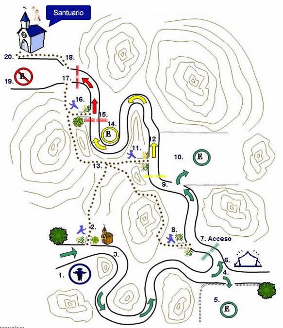 plano de acceso al santuario virgen del cerro